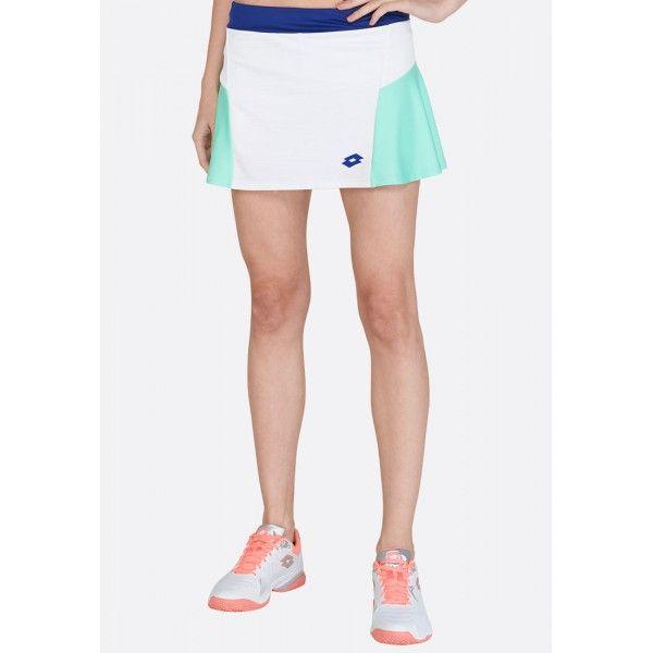 Купить Теннисные юбки для женщин, Теннисная юбка женская Lotto TOP TEN W II SKIRT PL BRIGHT WHITE/GREEN CABBAGE 212835/5PC, Синтетика, Индонезия
