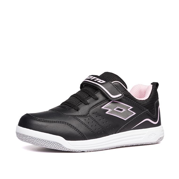 Купить Теннисные кроссовки для мальчиков, Кроссовки детские Lotto SET ACE XIII CL SL 211884/5GE, ALL BLACK/GRAVITY TITAN/PINK CHERRY, Полиуретан/текстиль