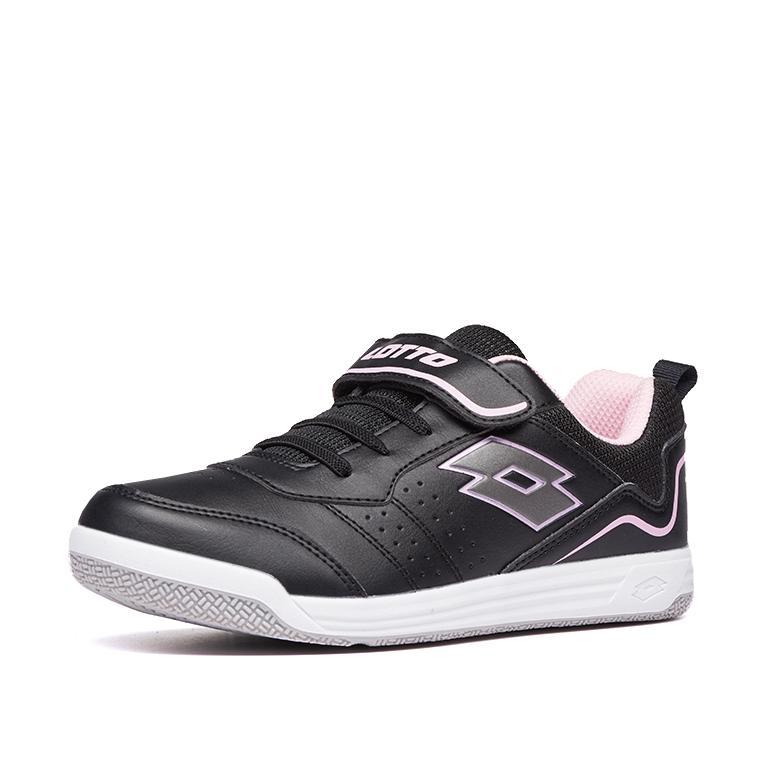 Купить Теннисные кроссовки для мальчиков, Кроссовки детские Lotto SET ACE XIII JR SL 211885/5GE, ALL BLACK/GRAVITY TITAN/PINK CHERRY, Полиуретан/текстиль